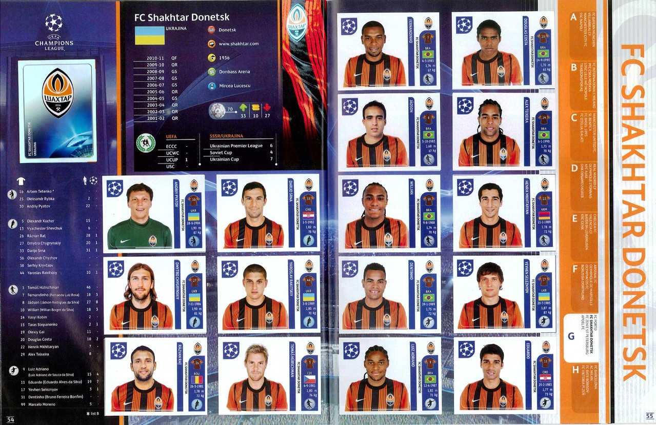 2011-12 - Panini Champions League - Pages 54 et 55 - FC Shakhtar Donetsk