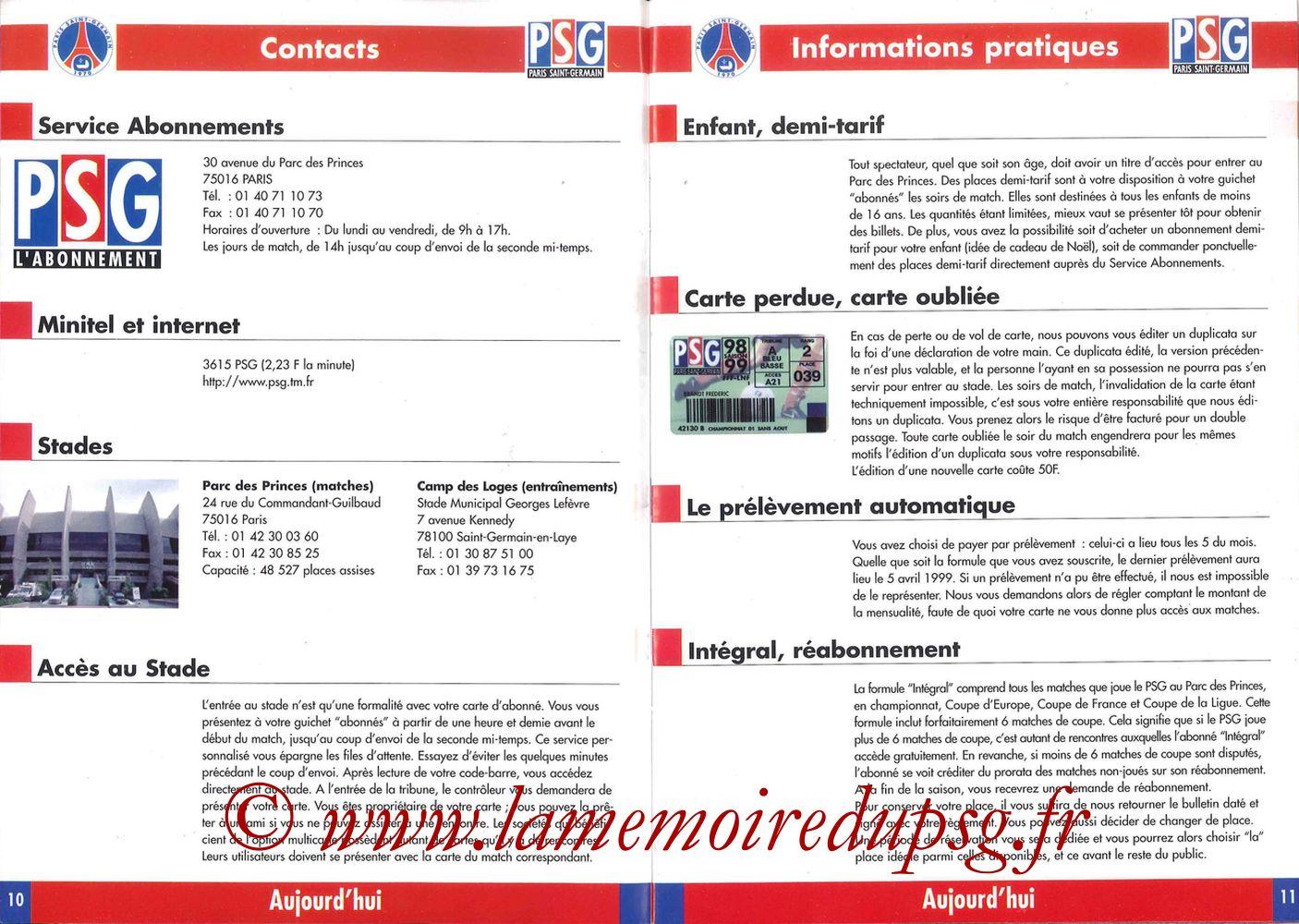1998-99 - Guide de la Saison PSG - Pages 10 et 11