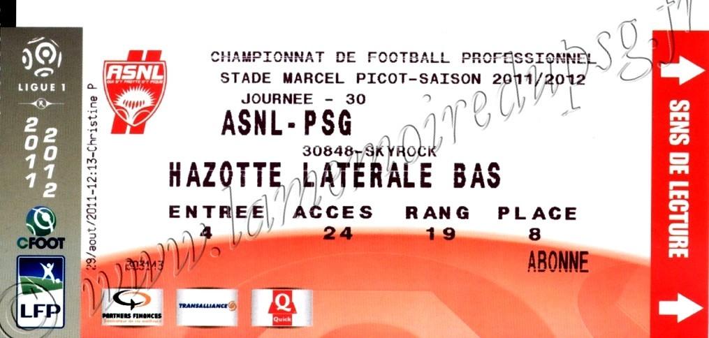 2012-03-31  Nancy-PSG (30ème L1)