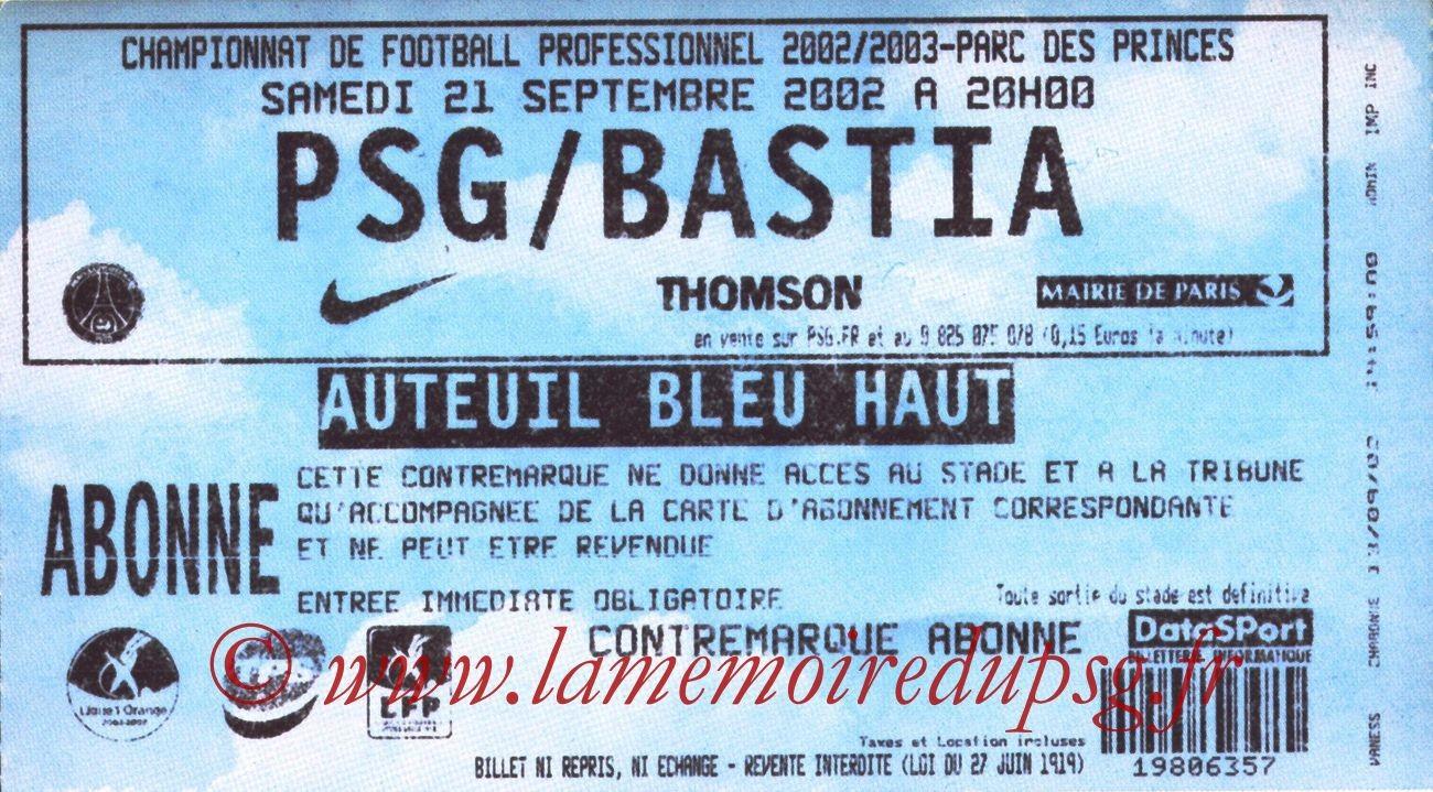 2002-09-22  PSG-Bastia (8ème L1, bis)