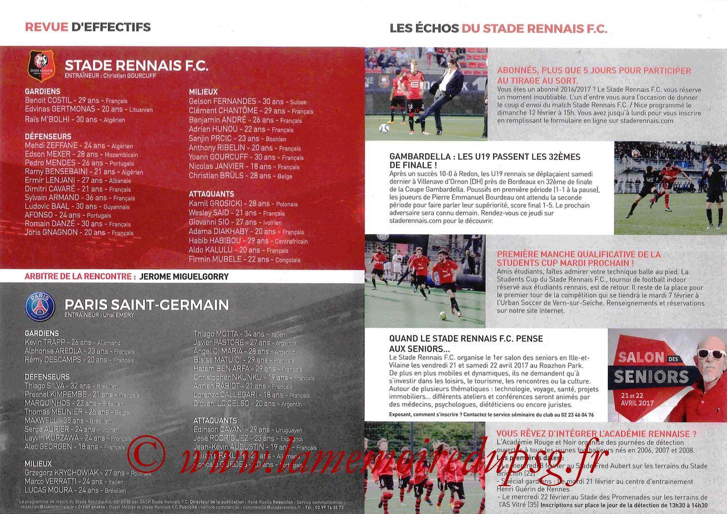 2017-02-01  Rennes-PSG (16ème CF, Programme officiel) - Pages 2 et 3