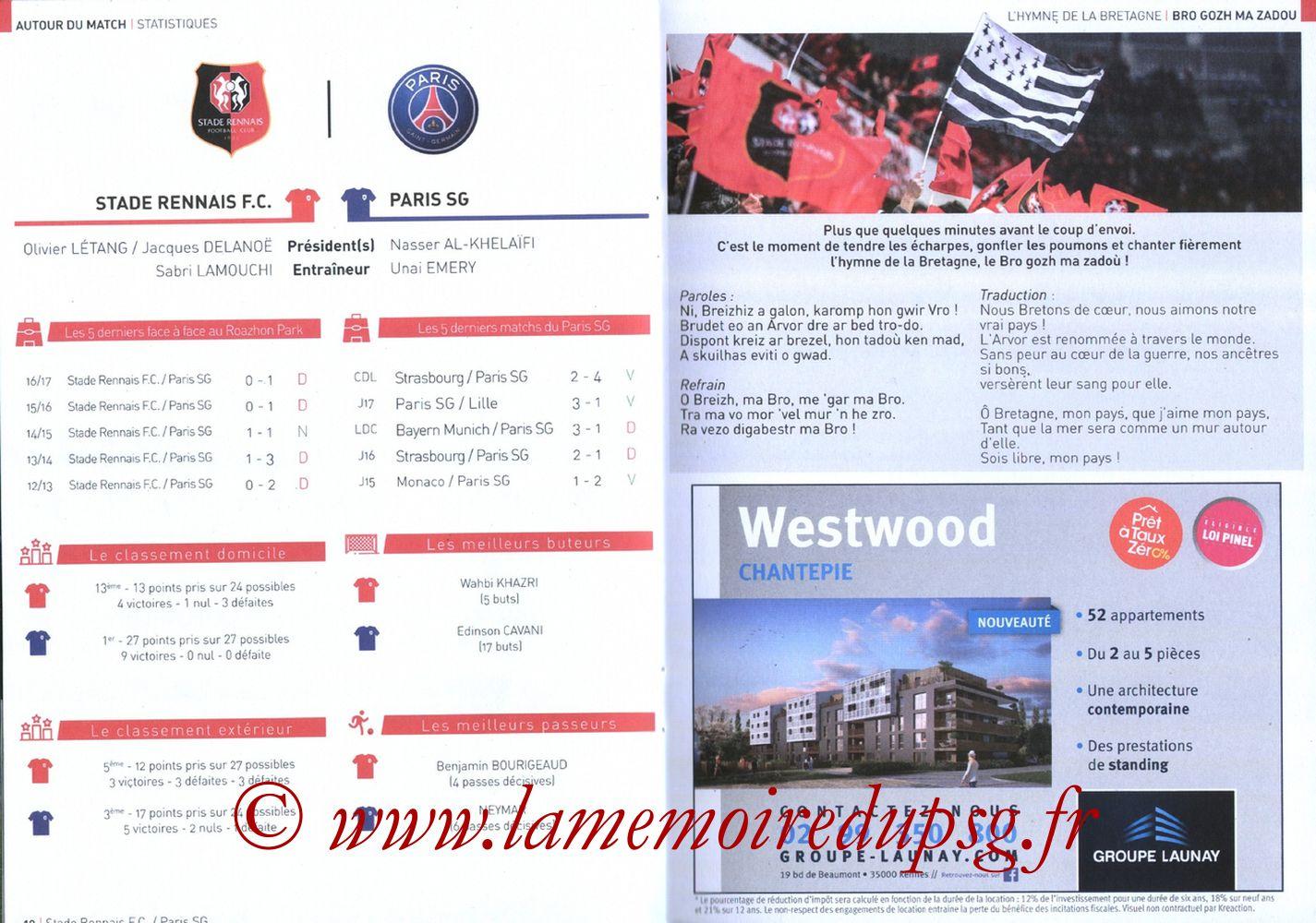 2017-12-16  Rennes-PSG (18ème L1, Le Programme de match) - Pages 10 et 11