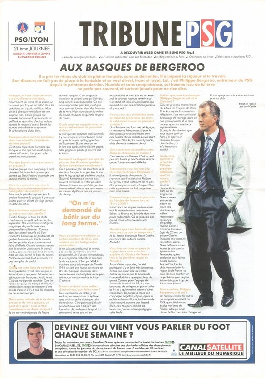 2000-01-11  PSG-Lyon (21ème D1, Tribune PSG N°8)