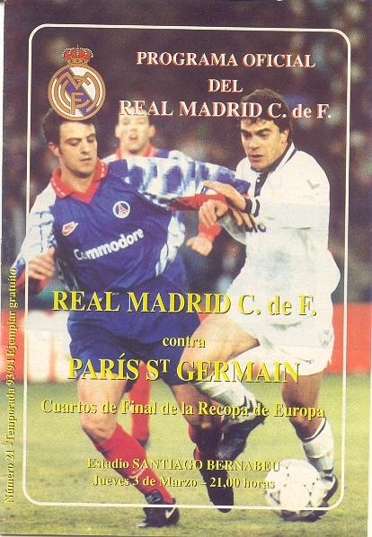 1994-03-03  Real Madrid-PSG (Quart Finale Aller C2, Programme officiel)