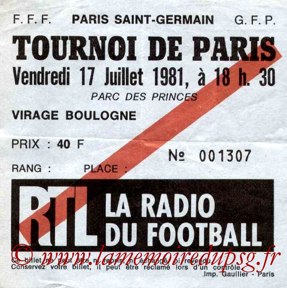 1981-07-17  PSG-Eintracht Francfort (Finale Tournoi de Paris)