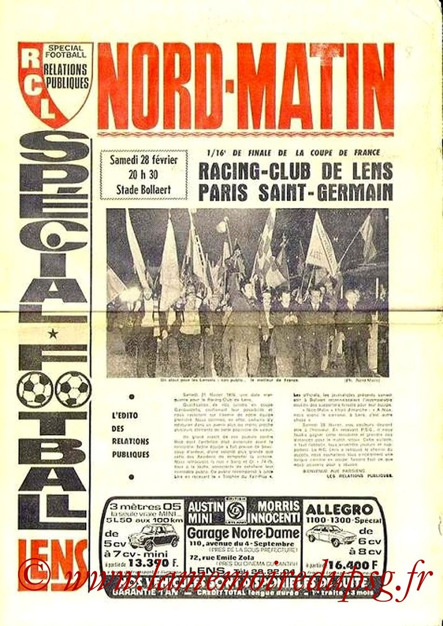 1976-02-28  Lens-PSG (16ème Aller CF, Spécial football)