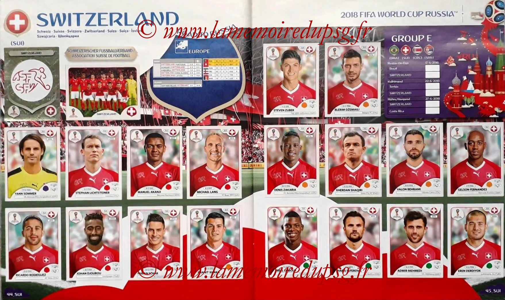 2018 - Panini FIFA World Cup Russia Stickers - Pages 44 et 45 - Suisse