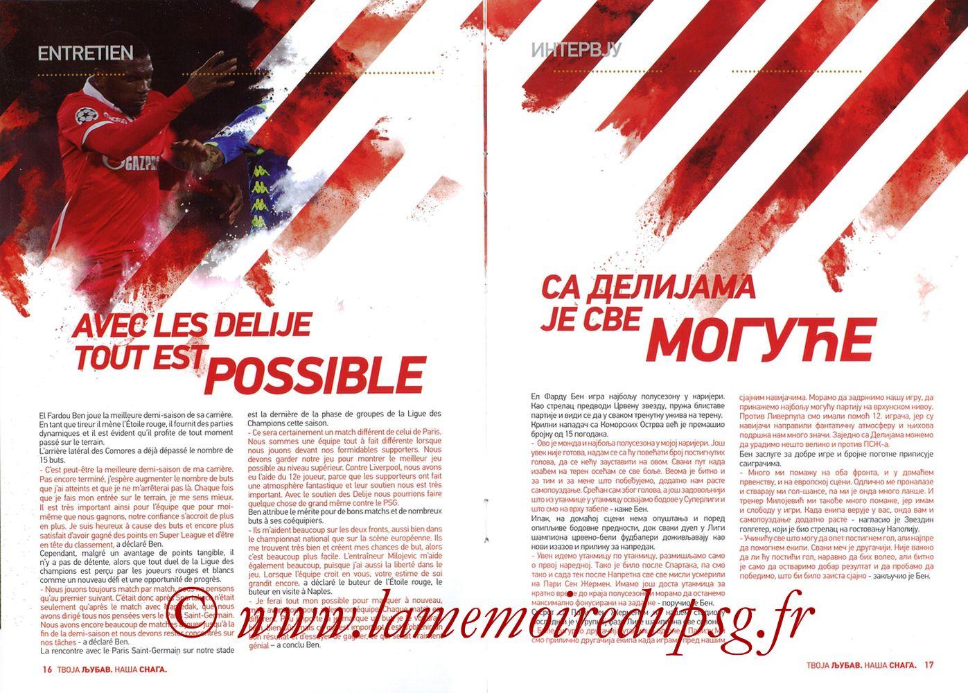2018-12-11  Etoile Rouge de Belgrade-PSG (6ème C1, Programme officiel) - Pages 16 et 17