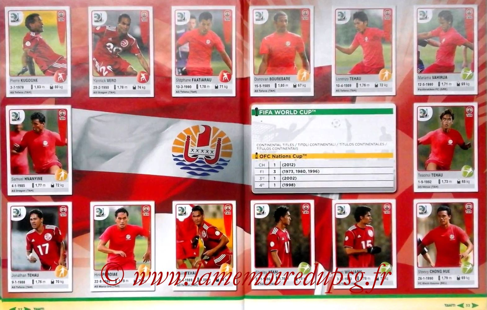 2013 - Panini Confederations Cup Brasil Stickers - Pages 32 et 33 - Tahiti