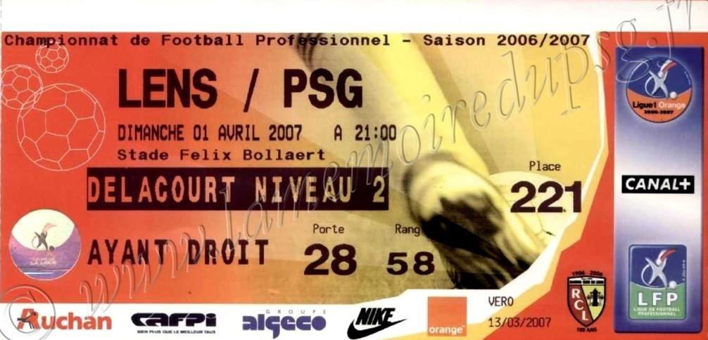 2007-04-01  Lens-PSG (30ème L1)