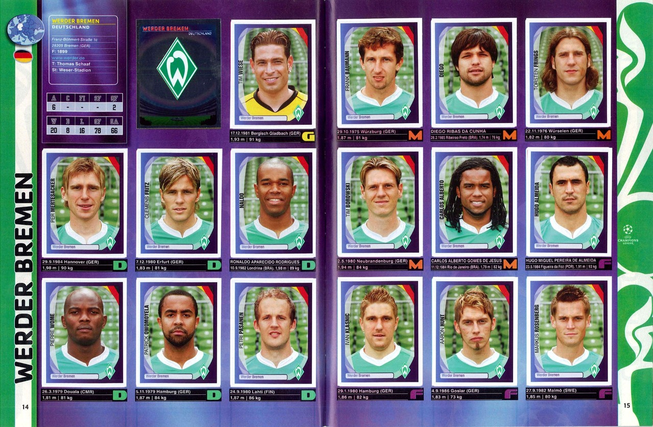 2007-08 - Panini Champions League - Pages 14 et 15 - Werder Breme