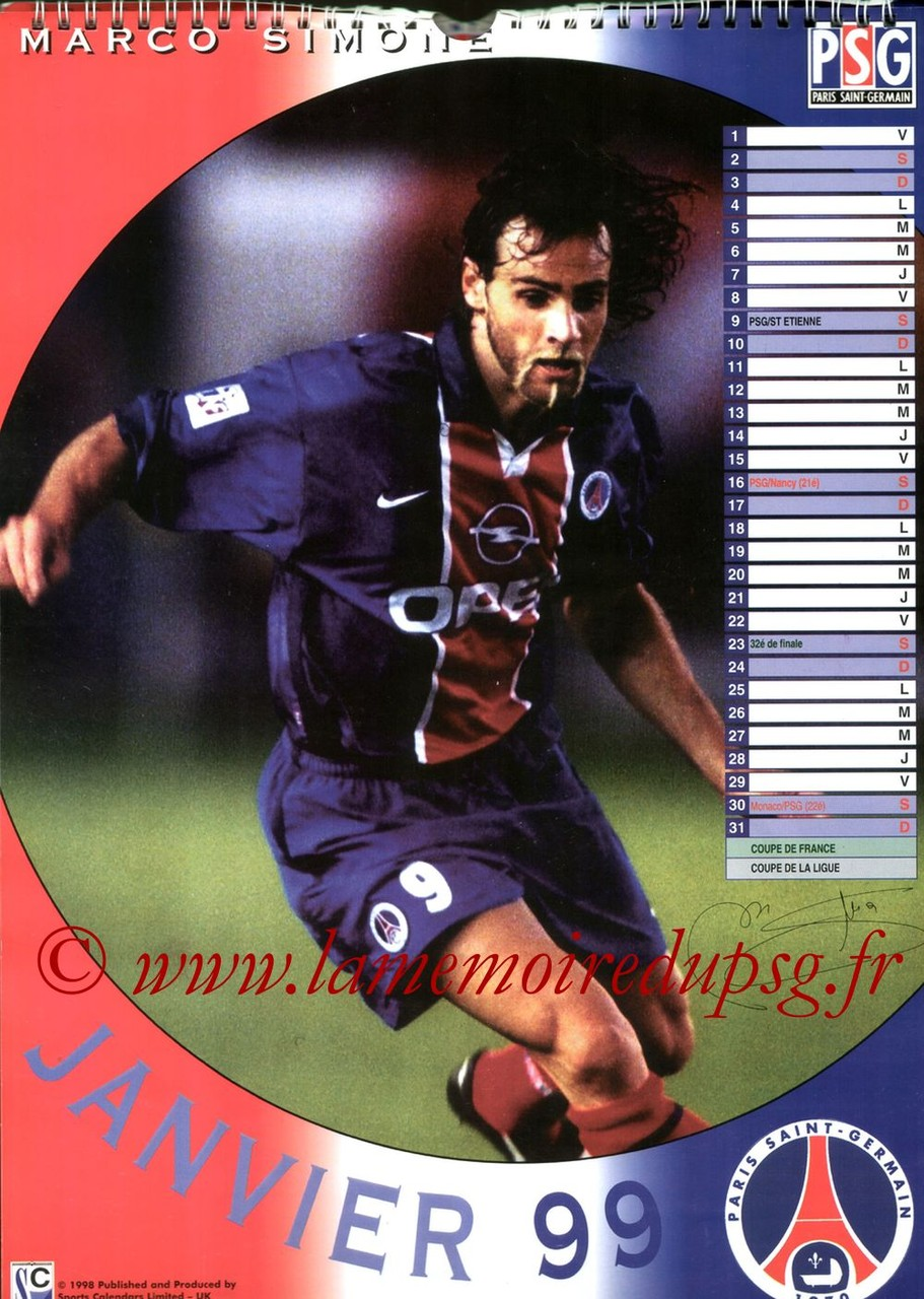 Calendrier PSG 1999 - Page 01 - Marco SIMONE