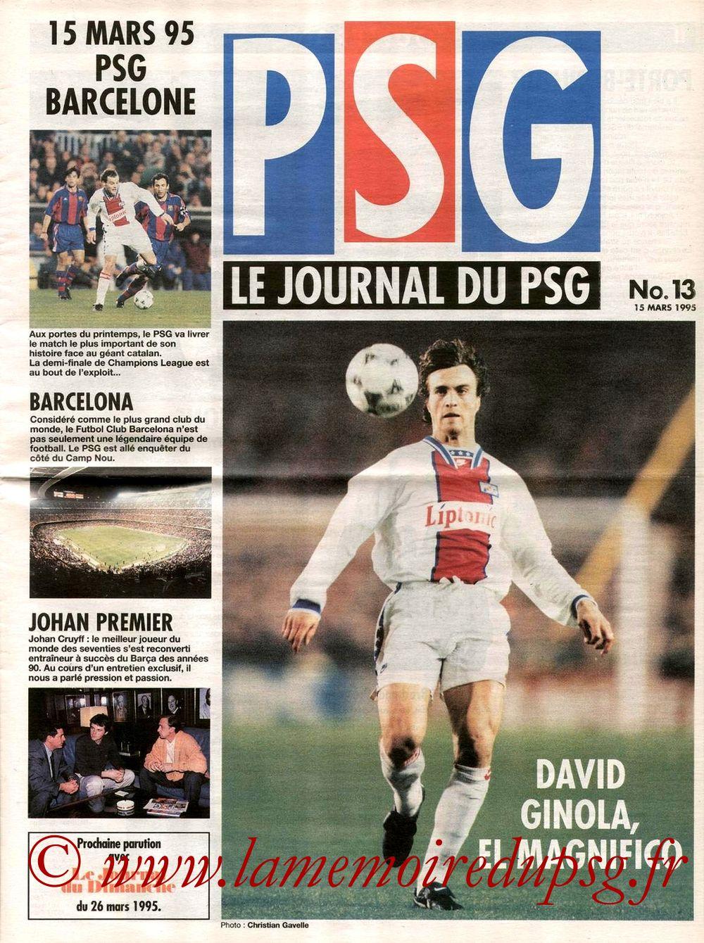 1995-03-15  PSG-Barcelone (Quart Finale Retour C1, le journal du PSG N°13)