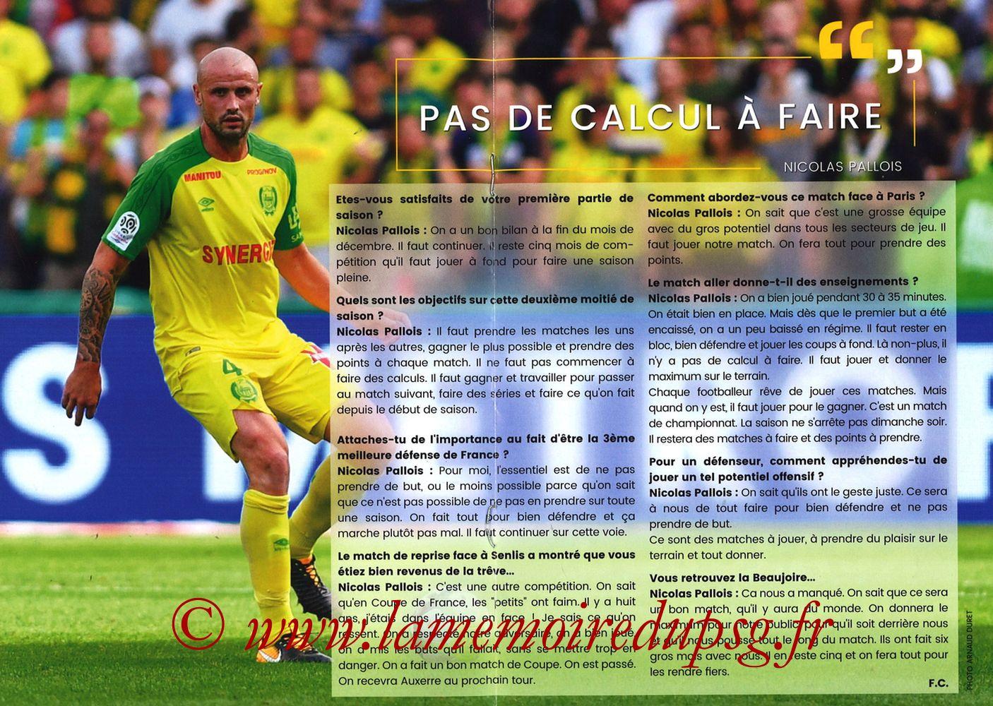 2018-01-14  Nantes-PSG (20ème L1, Programme officiel) - Pages 04 et 05