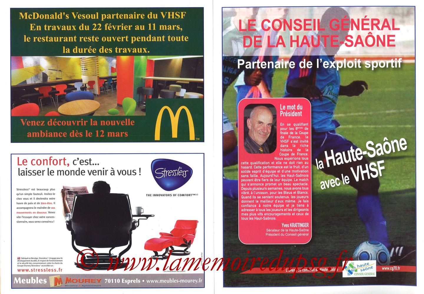 2010-02-09  Vesoul-PSG (8ème CF, Programme officiel) - Pages 08 et 09