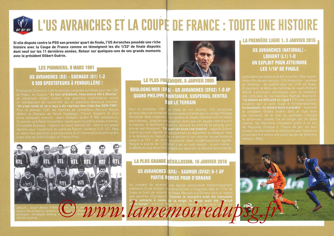 2017-04-05  Avranches-PSG (Quart CF à Caen, Programme officiel) - Pages 14 et 15