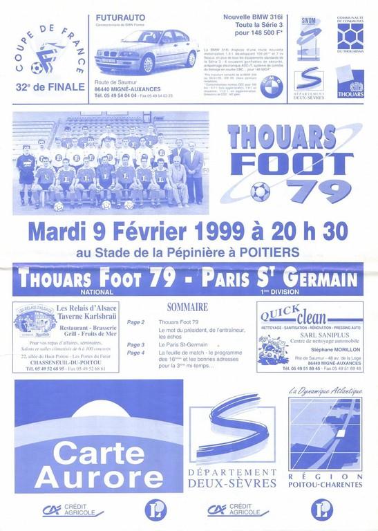 1999-02-09  Thouars-PSG (32ème Finale CF rejoué à Poitiers, Programme Officiel)