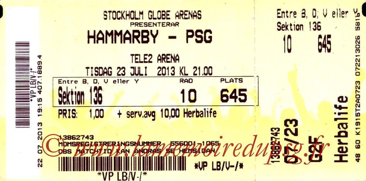 2013-07-23  Hammarby-PSG (Amical à Stockholm, bis)