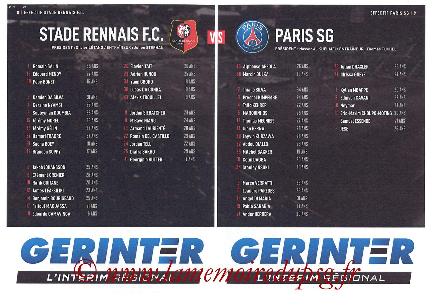 2019-08-18  Rennes-PSG (2ème L1, Programme officiel) - Pages 08 et 09
