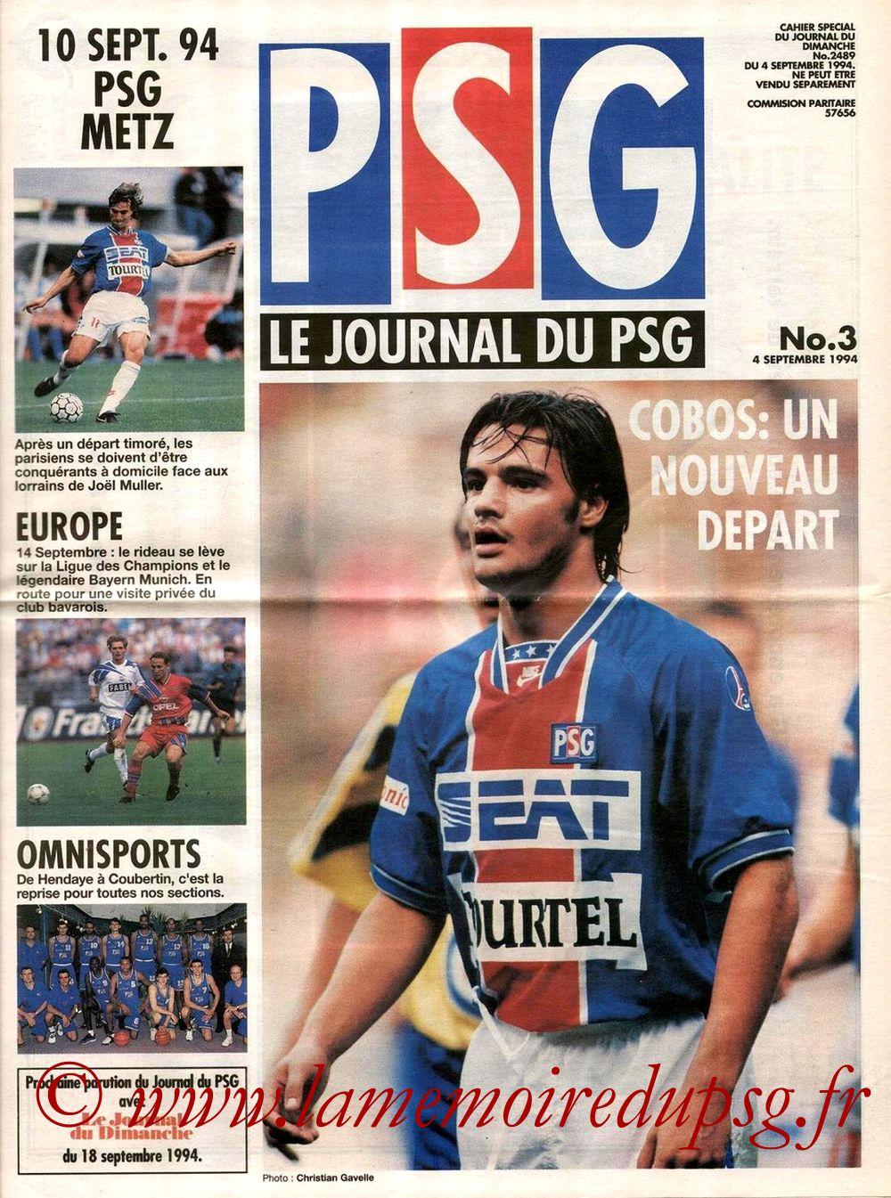 1994-09-14  PSG-Bayern Munich (1ère Poule C1, Le journal du PSG N°3)