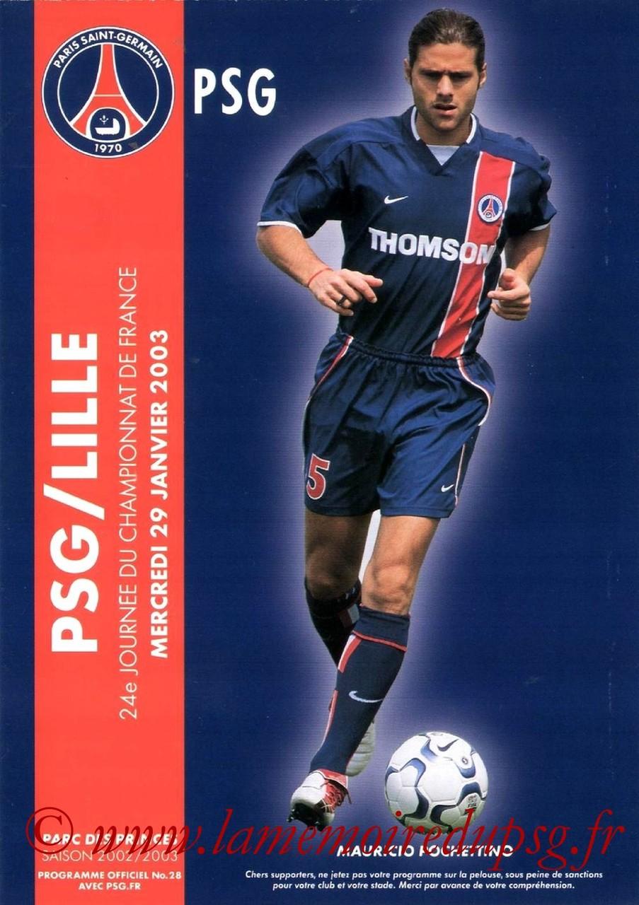 2003-01-29  PSG-Lille (24ème D1, Programme officiel N°28)