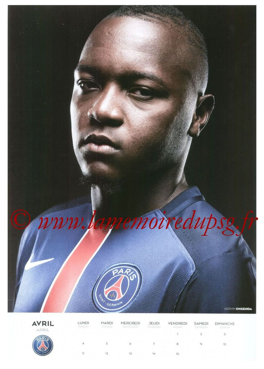 Calendrier PSG 2016 - Page 07 - Hervin ONGENDA