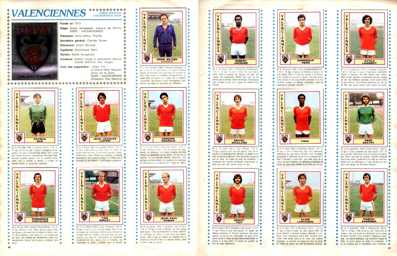 1979-80 - Panini 1980 - Pages 40 et 41 - US Valenciennes-Anzin