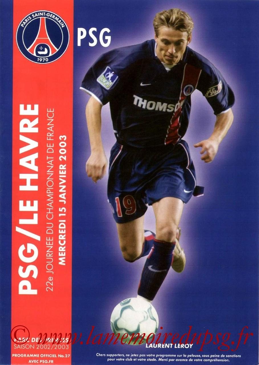2003-01-15  PSG-Le Havre (22ème D1, Programme officiel N°27)