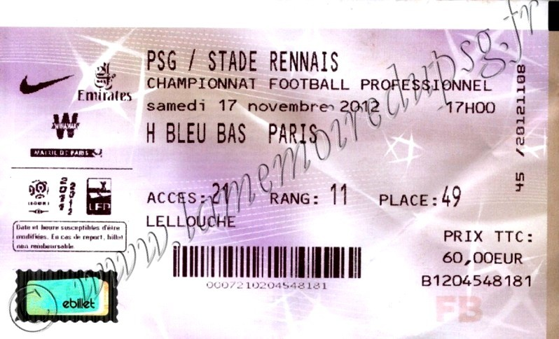 2012-11-17  PSG-Rennes (13ème L1, Billetel)