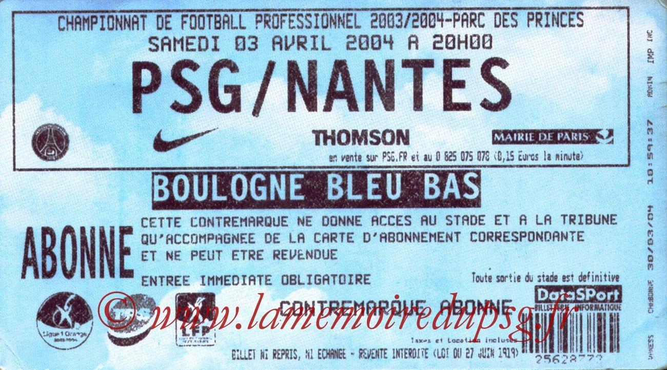 2004-04-03   PSG-Nantes (31ème L1)