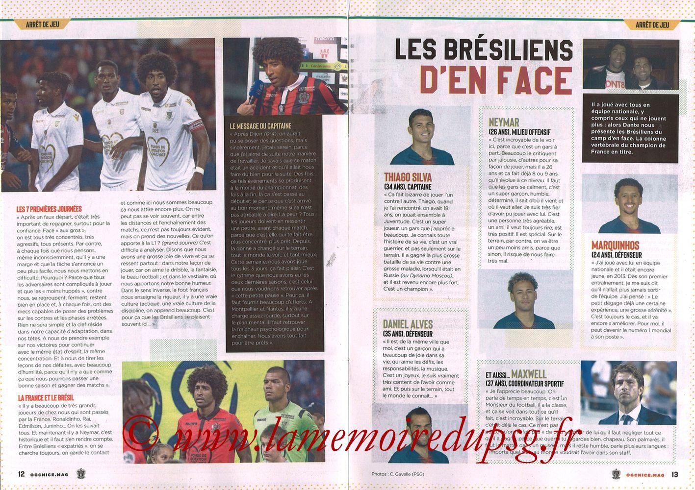2018-09-29  Nice-PSG (8ème L1, Ogcnice.Mag N°313) - Pages 12 et 13