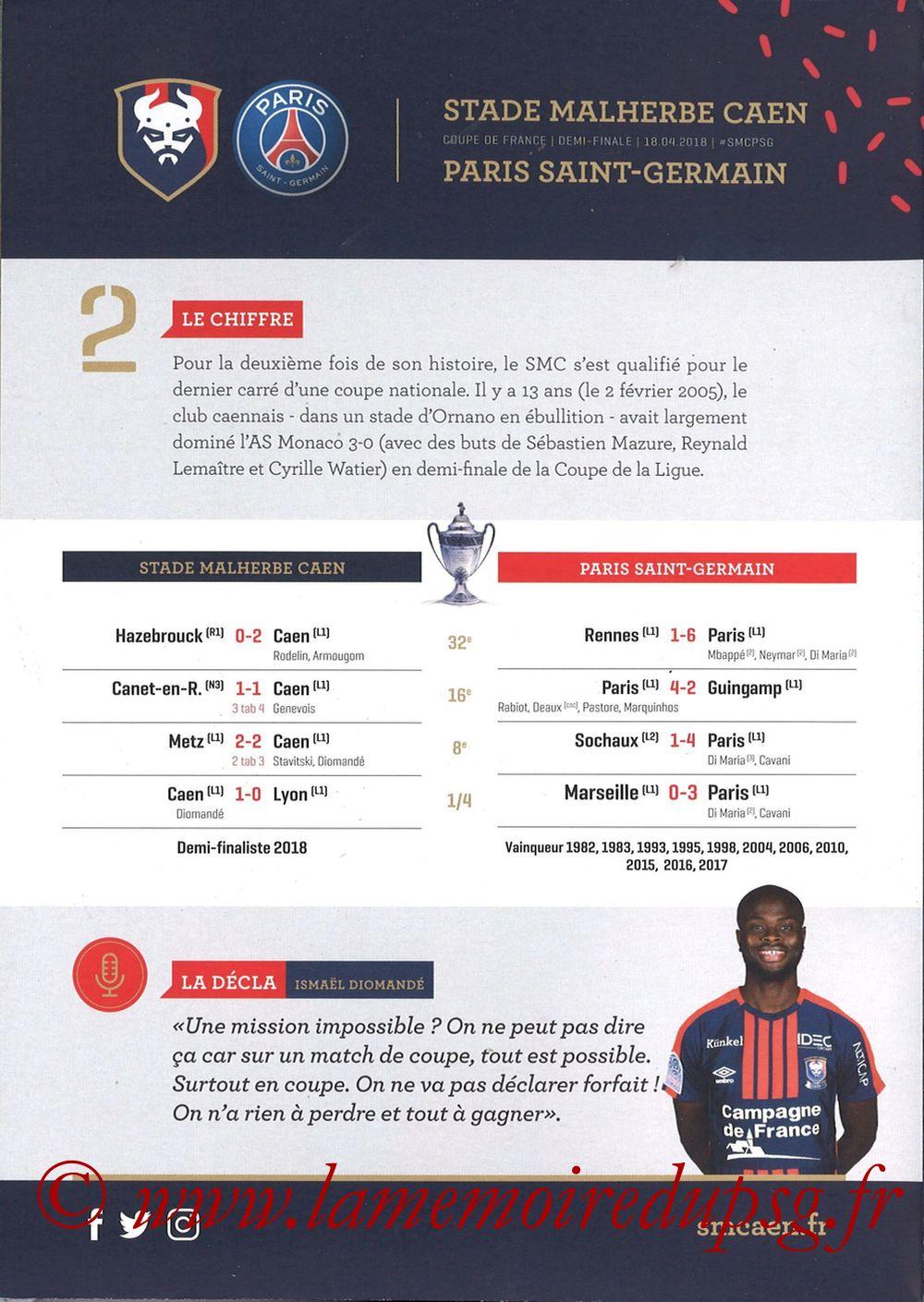 2018-04-18  Caen-PSG (Demi Finale CF, Programme officiel) - Page 04