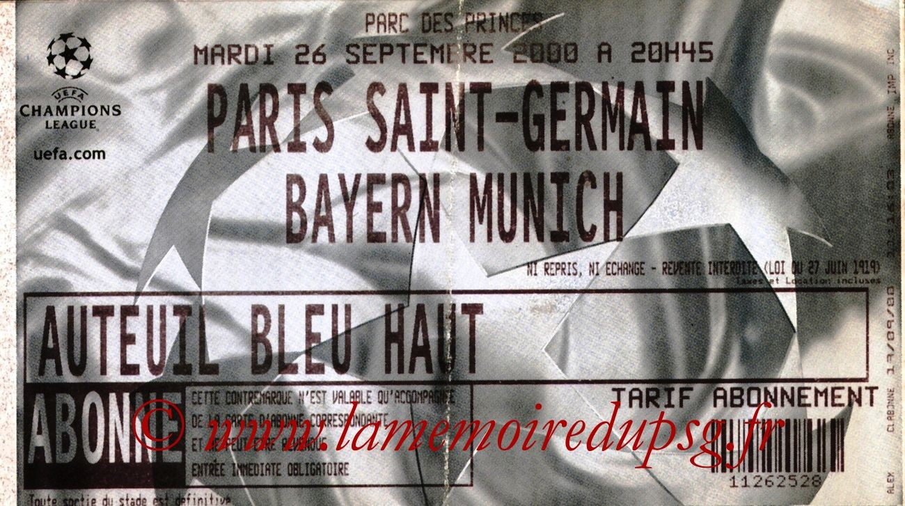 2000-09-26  PSG-Bayern Munich (1ère Phase Poule C1, 3ème Journée)