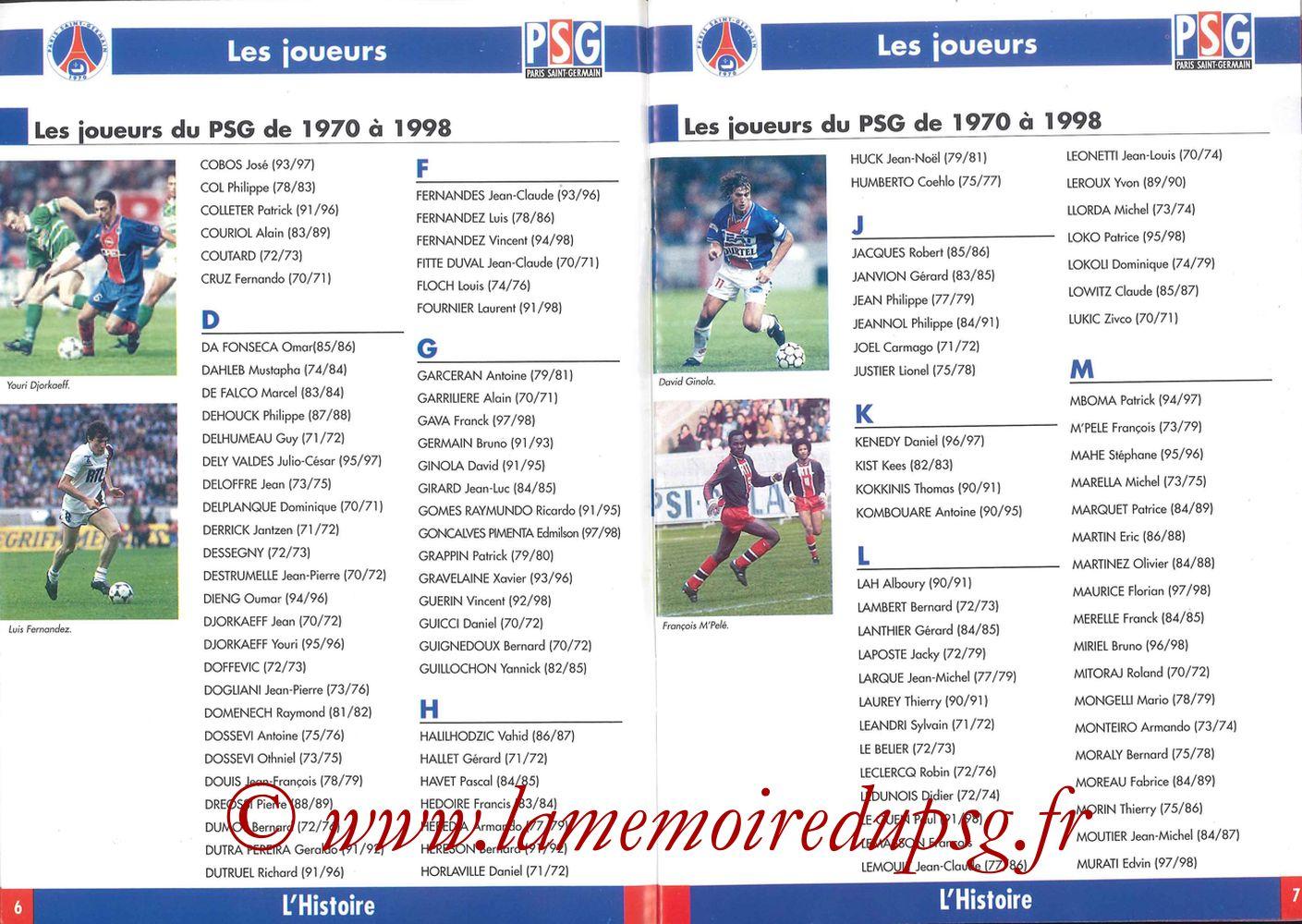 1998-99 - Guide de la Saison PSG - Pages 06 et 07