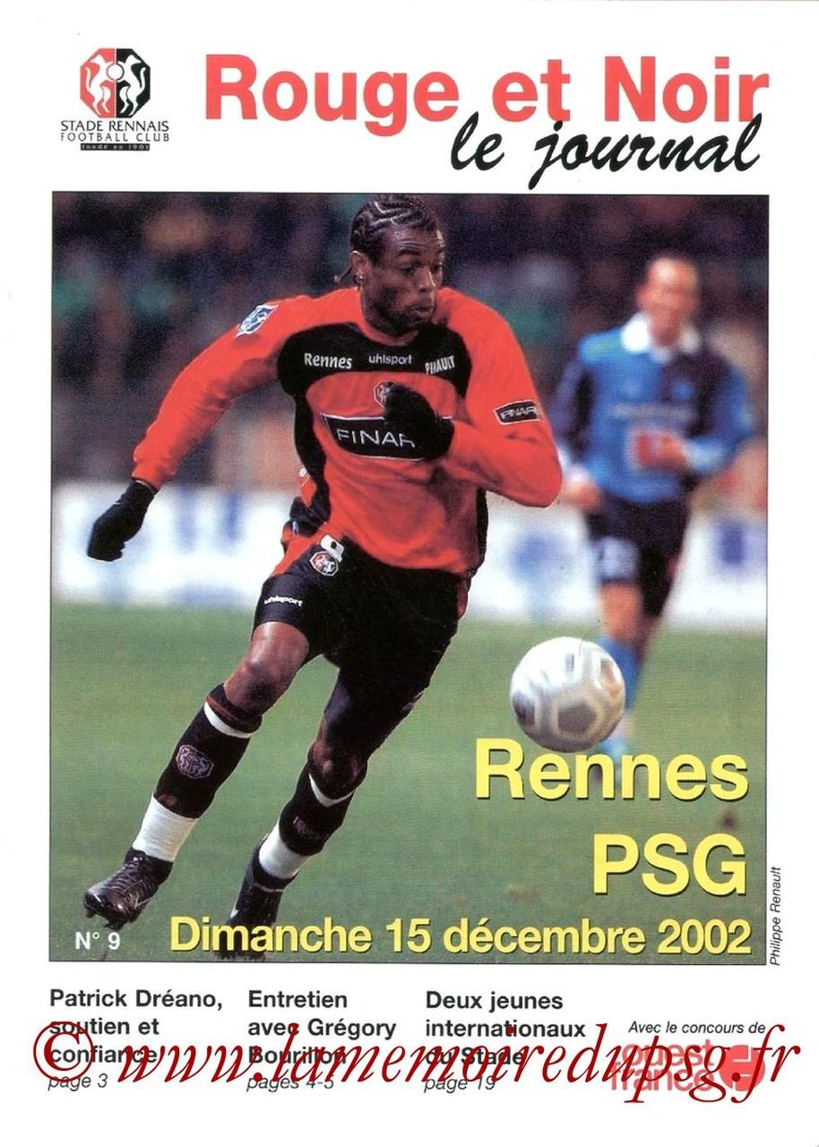 2002-12-15  Rennes-PSG (19ème D1, Rouge et Noir N°9)