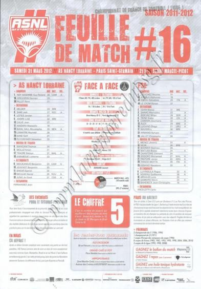 2012-03-31  Nancy-PSG (30ème L1, Feuille de match N°16)