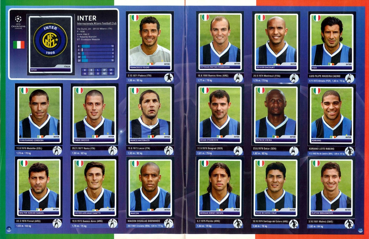 2006-07 - Panini Champions League - Pages 18 et 19 - Inter Milan