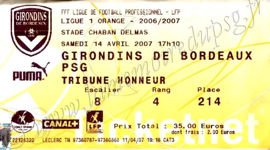 2007-04-14  Bordeaux-PSG (32ème L1, Ticketnet)