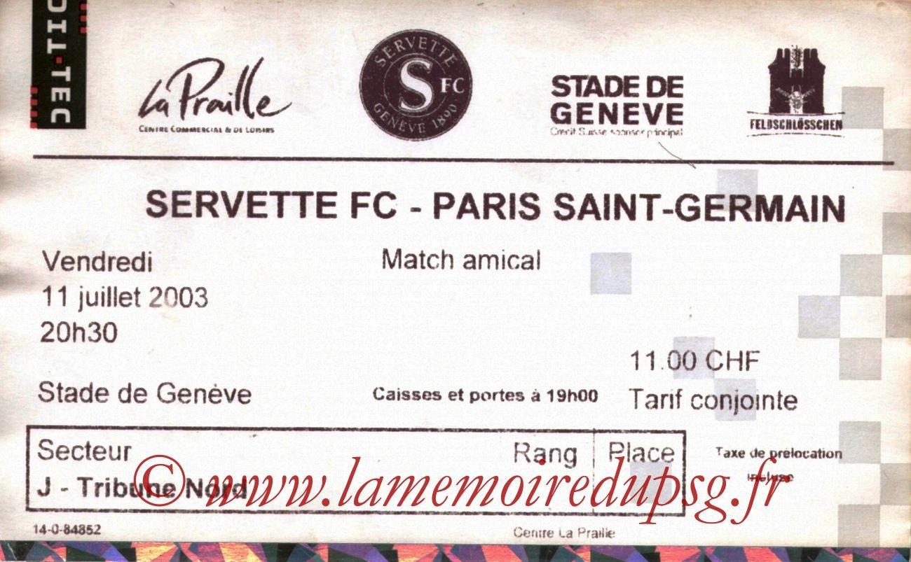 2003-07-11   Servette-PSG (Amical à Genève)
