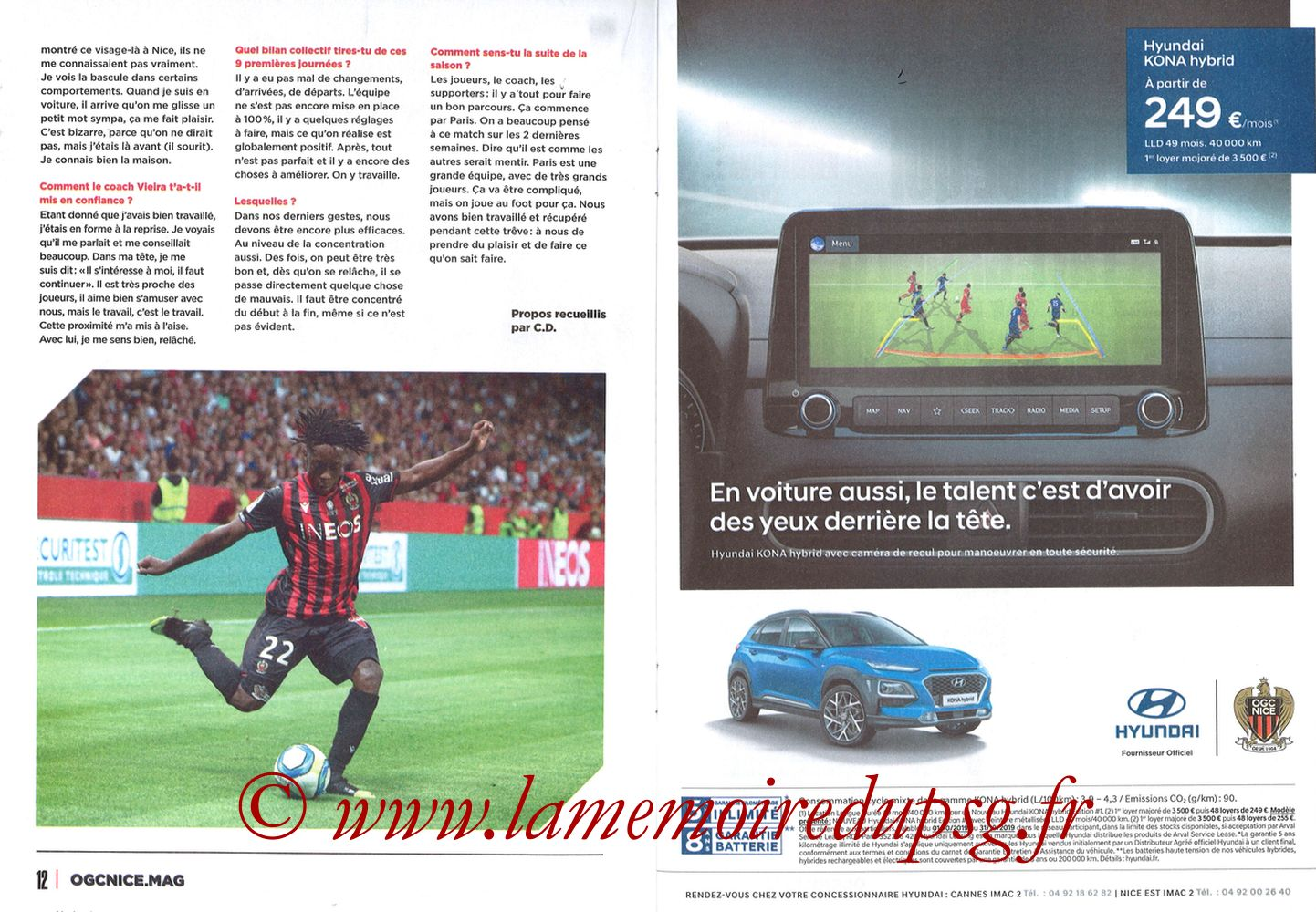 2019-10-18  Nice-PSG (10ème L1, OGCNice Mag N° 333) - Pages 12 et 13