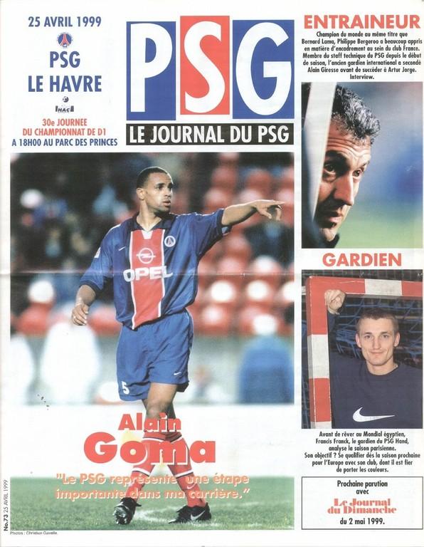 1999-04-25  PSG-Le Havre (30ème D1, Le Journal du PSG N°73)