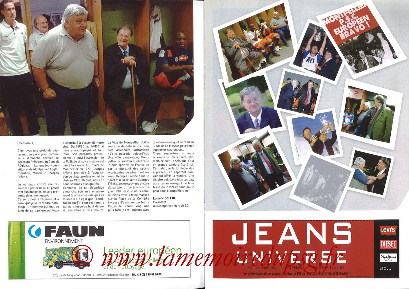 2010-10-31  Montpellier-PSG (11ème L1, L'Echo de la Mosson N°6) - Pages 02 et 03