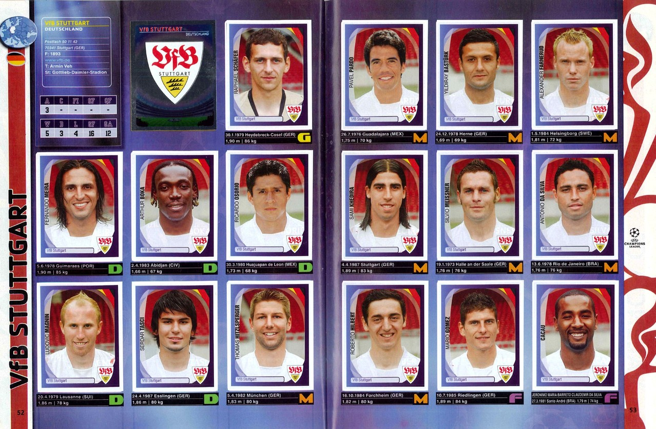 2007-08 - Panini Champions League - Pages 52 et 53 - VFB Stuttgart