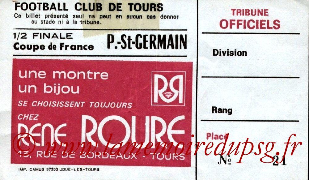 Ticket  Tours-PSG  1982-83