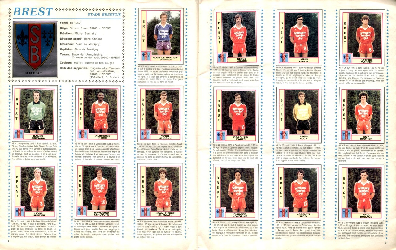 1979-80 - Panini 1980 - Pages 08 et 09 - Stade Brestois