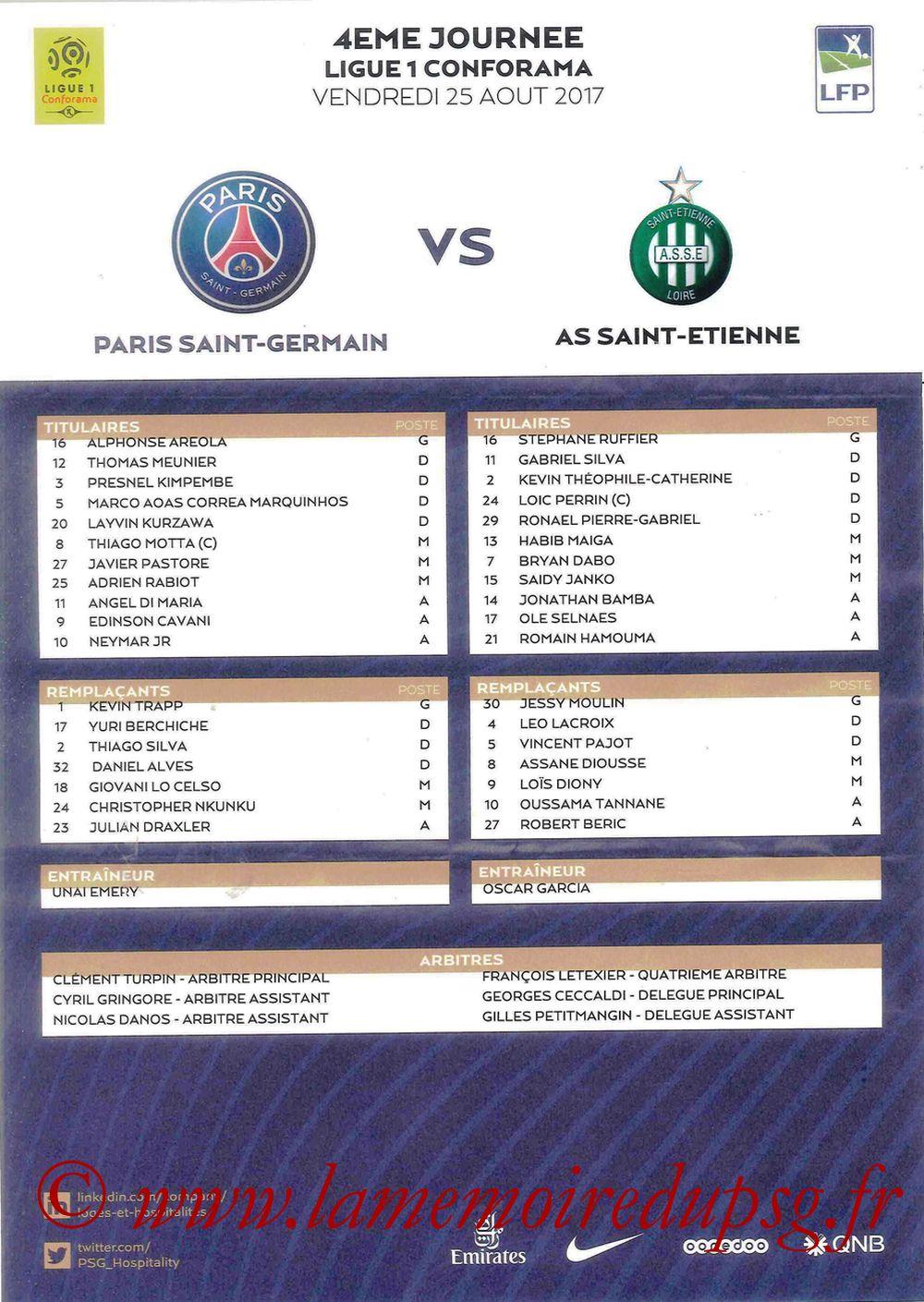 2017-08-25  PSG-Saint Etienne (4ème L1, Feuille de match)