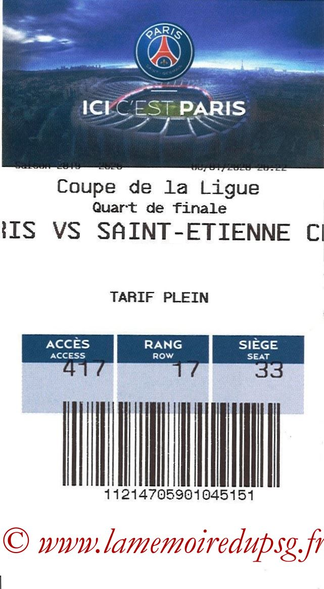 2020-01-08  PSG-Saint Etienne (Quart CL, E-ticket)