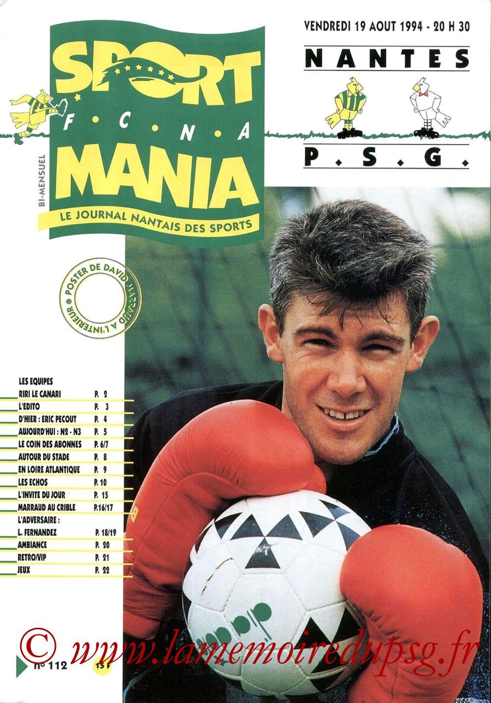 1994-08-19  Nantes-PSG (5ème D1, Sportmania N°112)