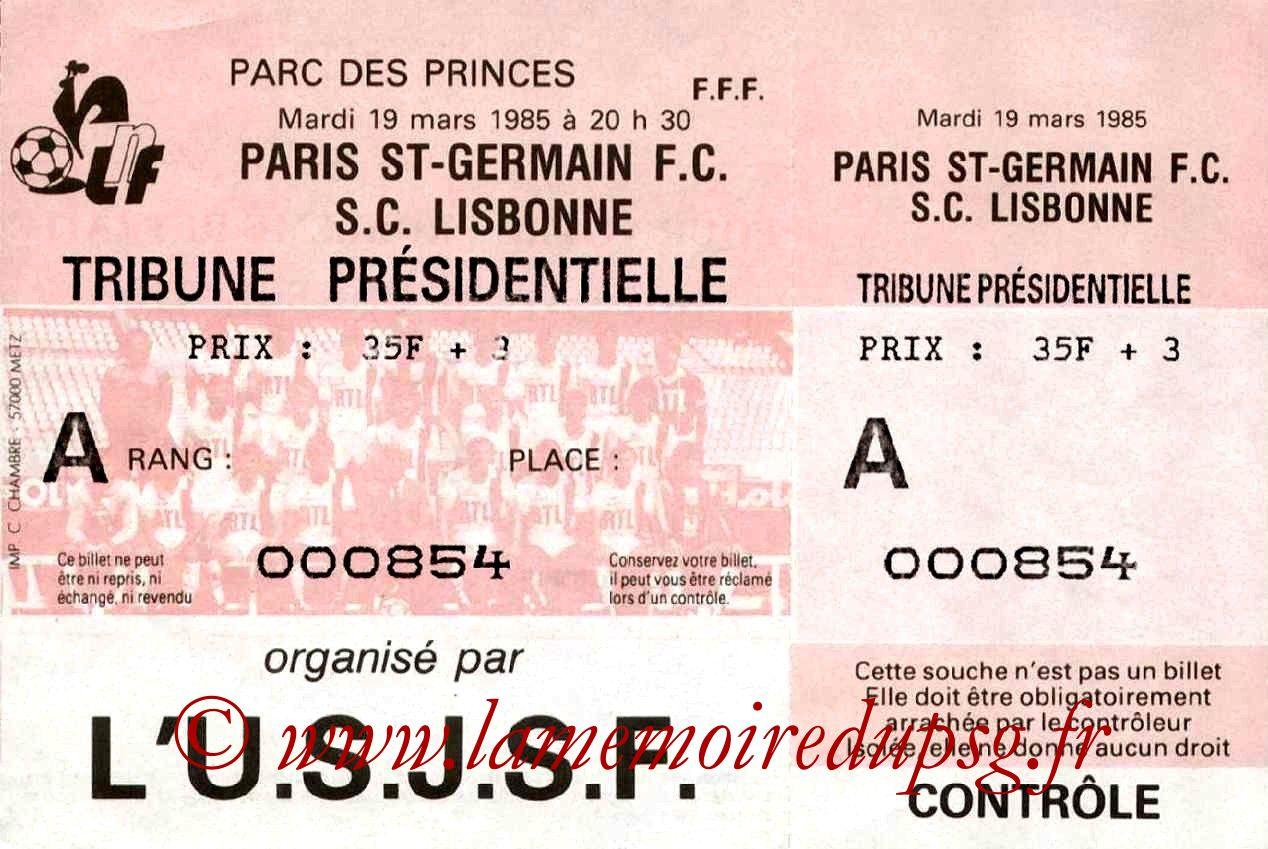 1985-03-19  PSG-Sporting Lisbonne (Amical au Parc des Princes, Entier)