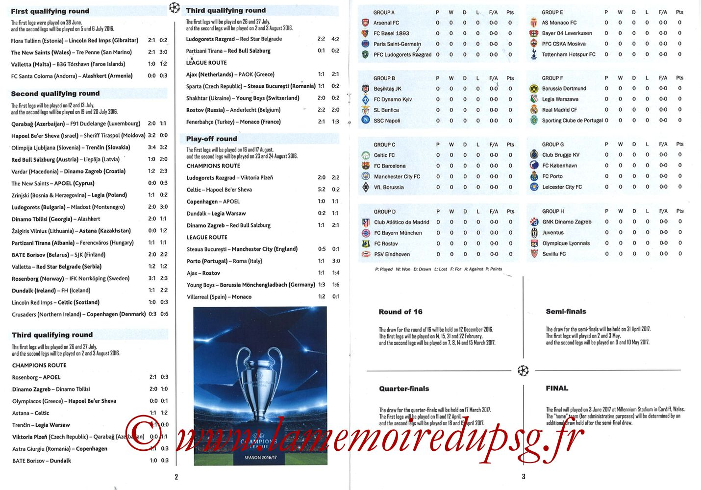2016-09-13  PSG-Arsenal (1ère Poule C1, Programme pirate) - Pages 02 et 03
